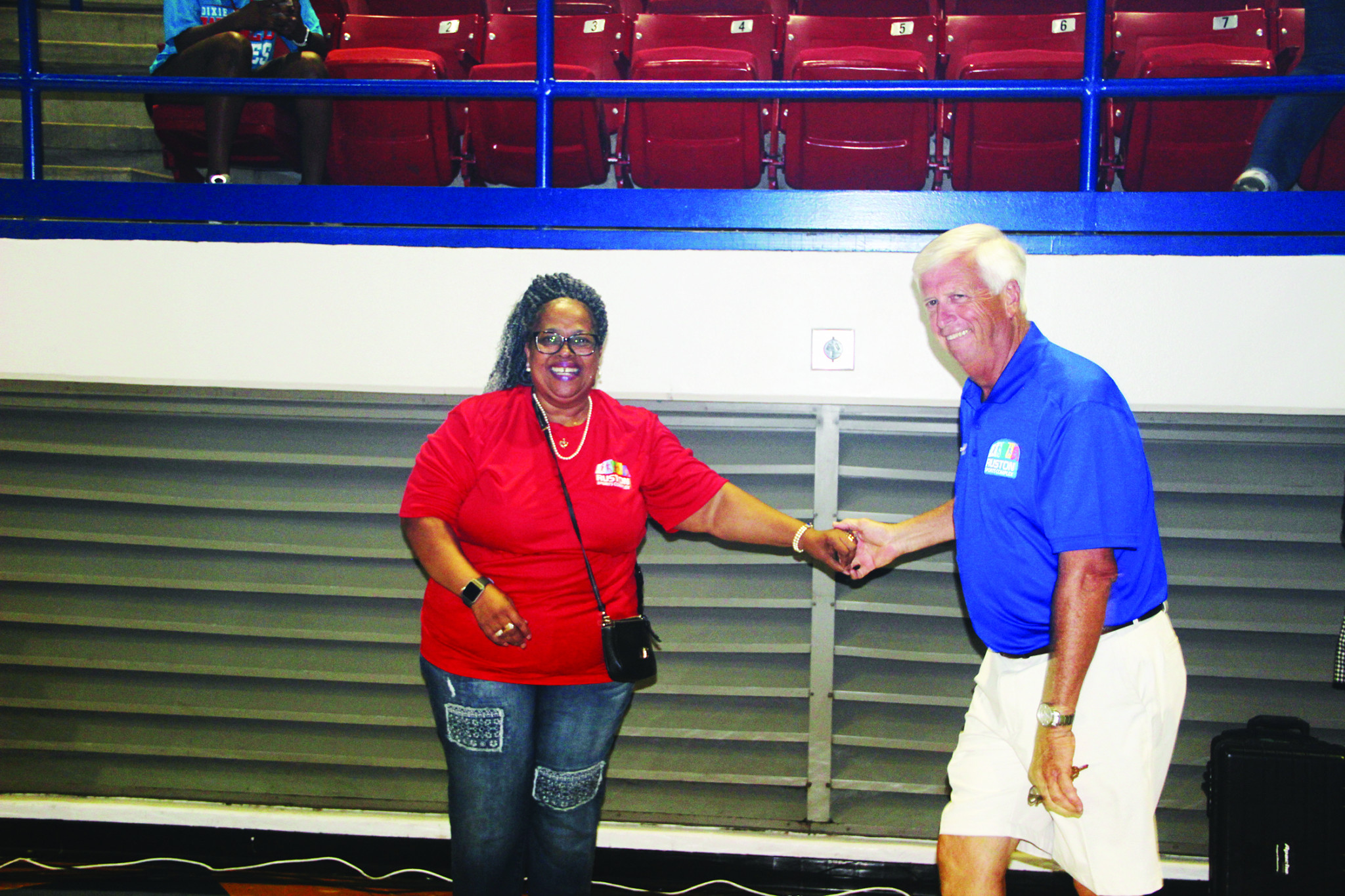 Ruston City Councilwoman Carolyn Cage (left) and Ruston Mayor Ronny Walker share a dance during Friday's festivities.