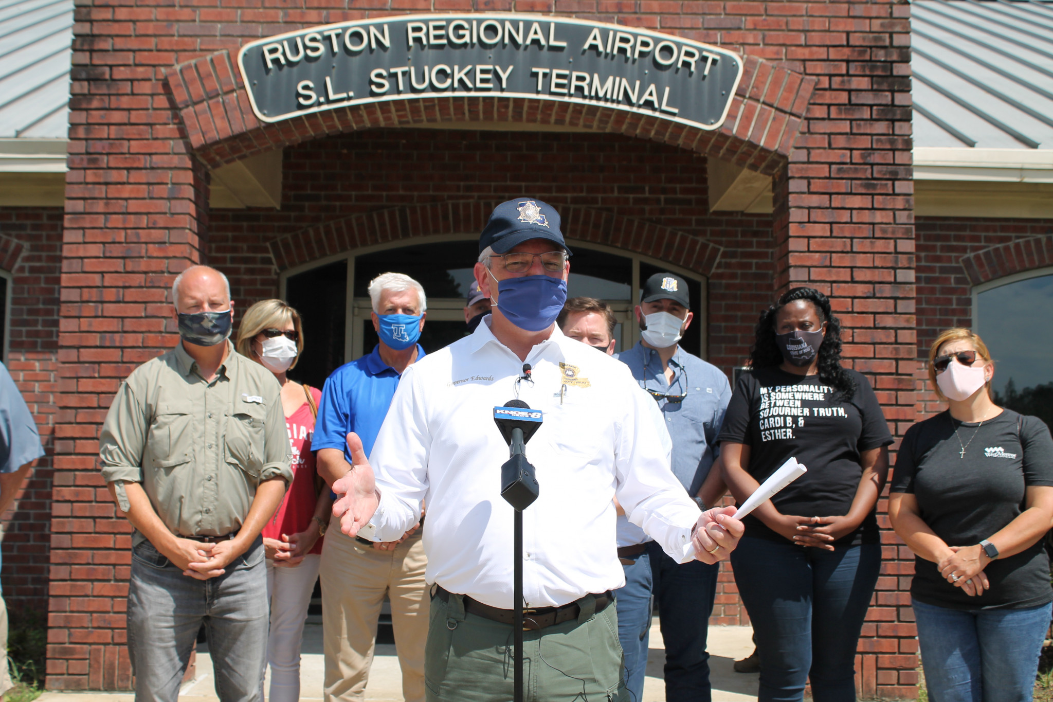 Gov. John Bel Edwards held a press conference Friday afternoon at the Ruston Regional Airport after touring the area by air.