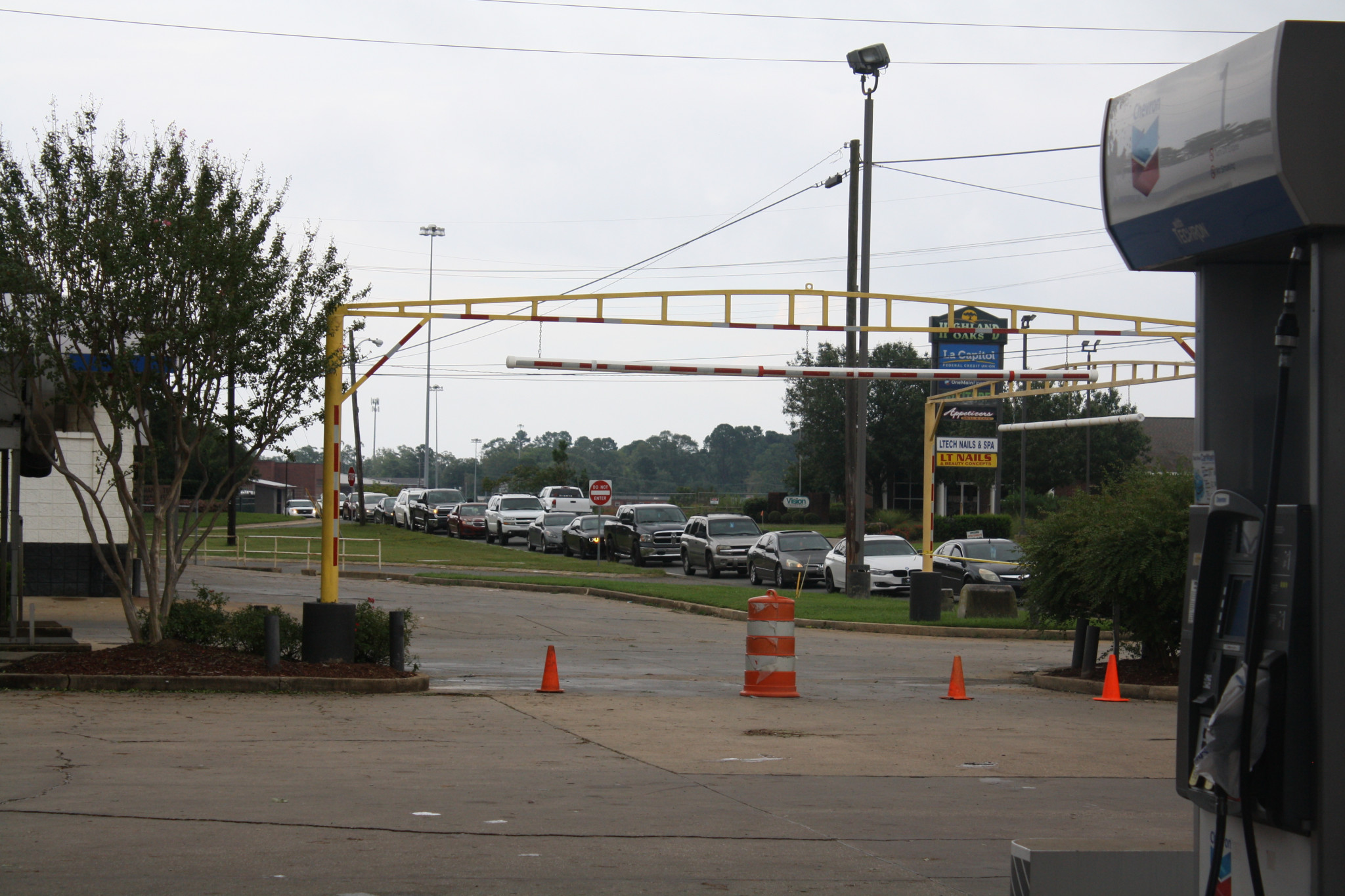 The line at for gas at the Chevron on Tech Drive Friday