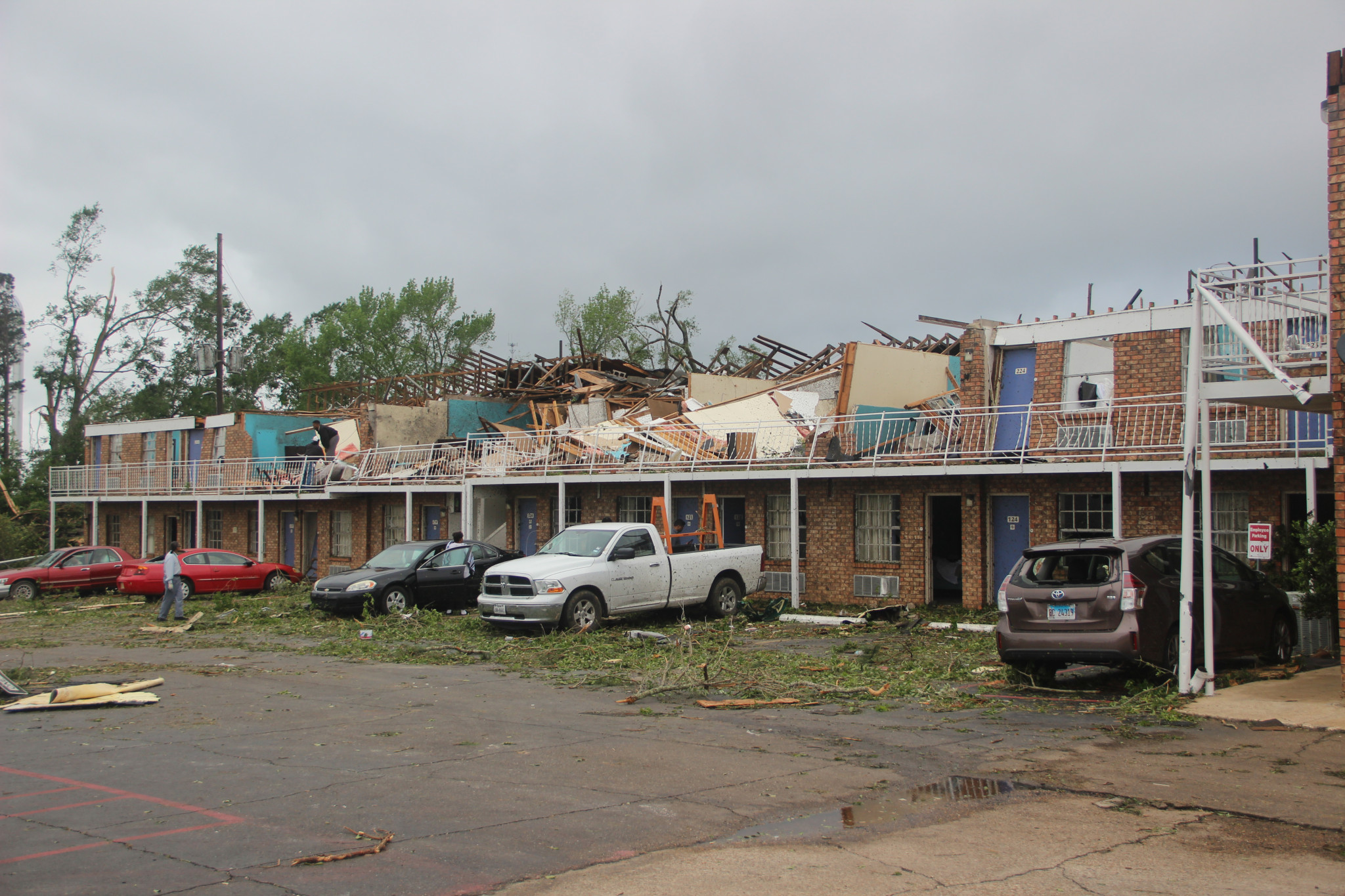 A ground view of the destroyed America's Best Value Inn as it stood the morning after the storm.