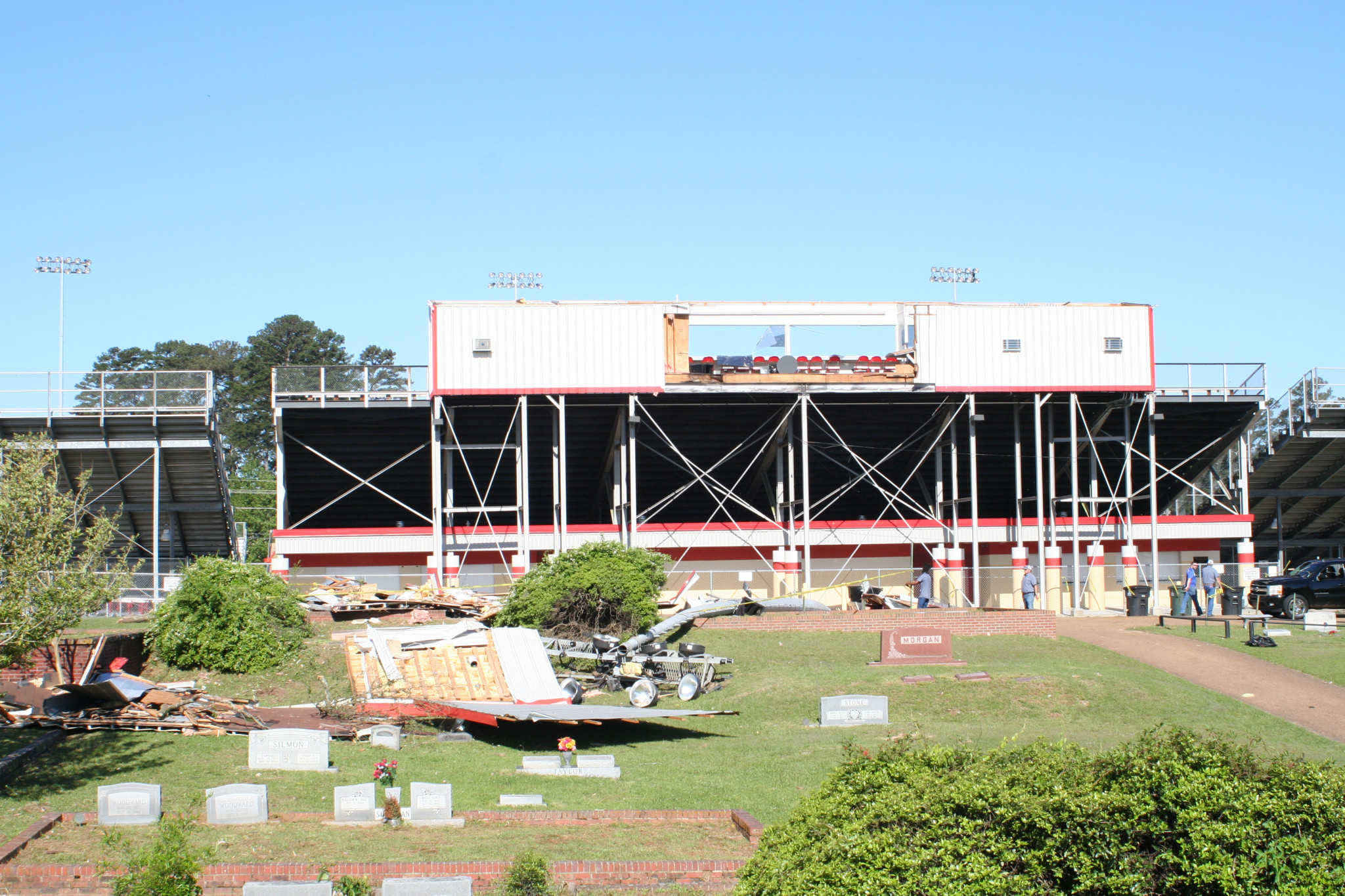The Ruston High School football stadium press box and light pole knocked out by the storm.