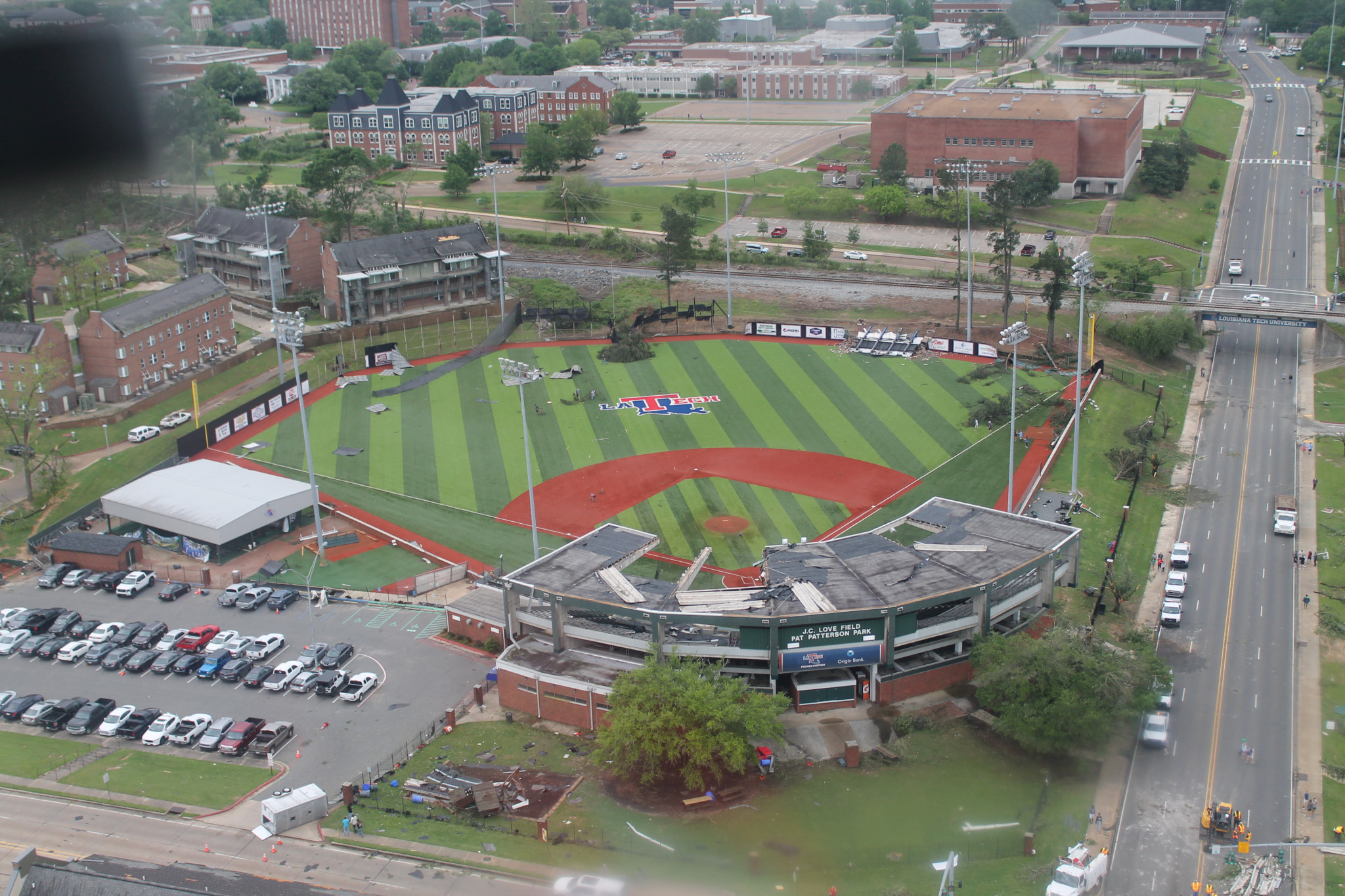 An aerial view from April 25, 2019 of the Louisiana Tech University baseball field.