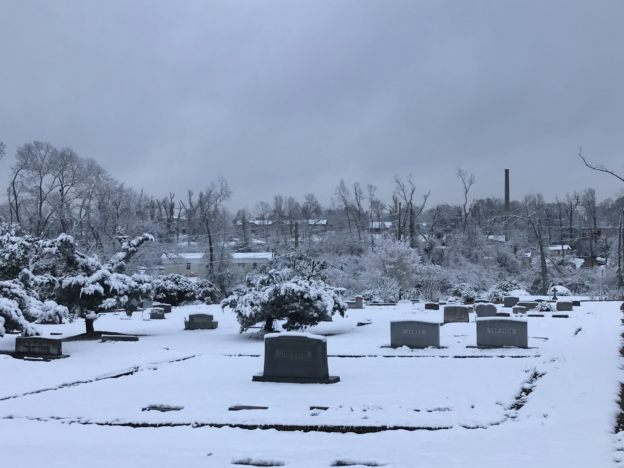 A snowy landscape at Greenwood Cemetery - Leader photo by Caleb Daniel