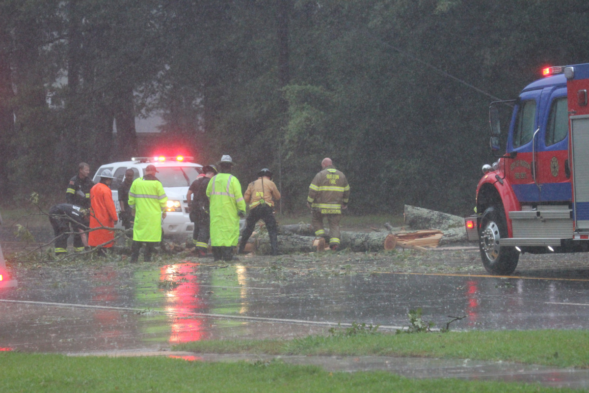 Emergency personnel broke out chain saws to remove this tree that blocked northbound lanes of North Trenton Street near Kentucky Avenue as Hurricane Laura roared across Ruston.
