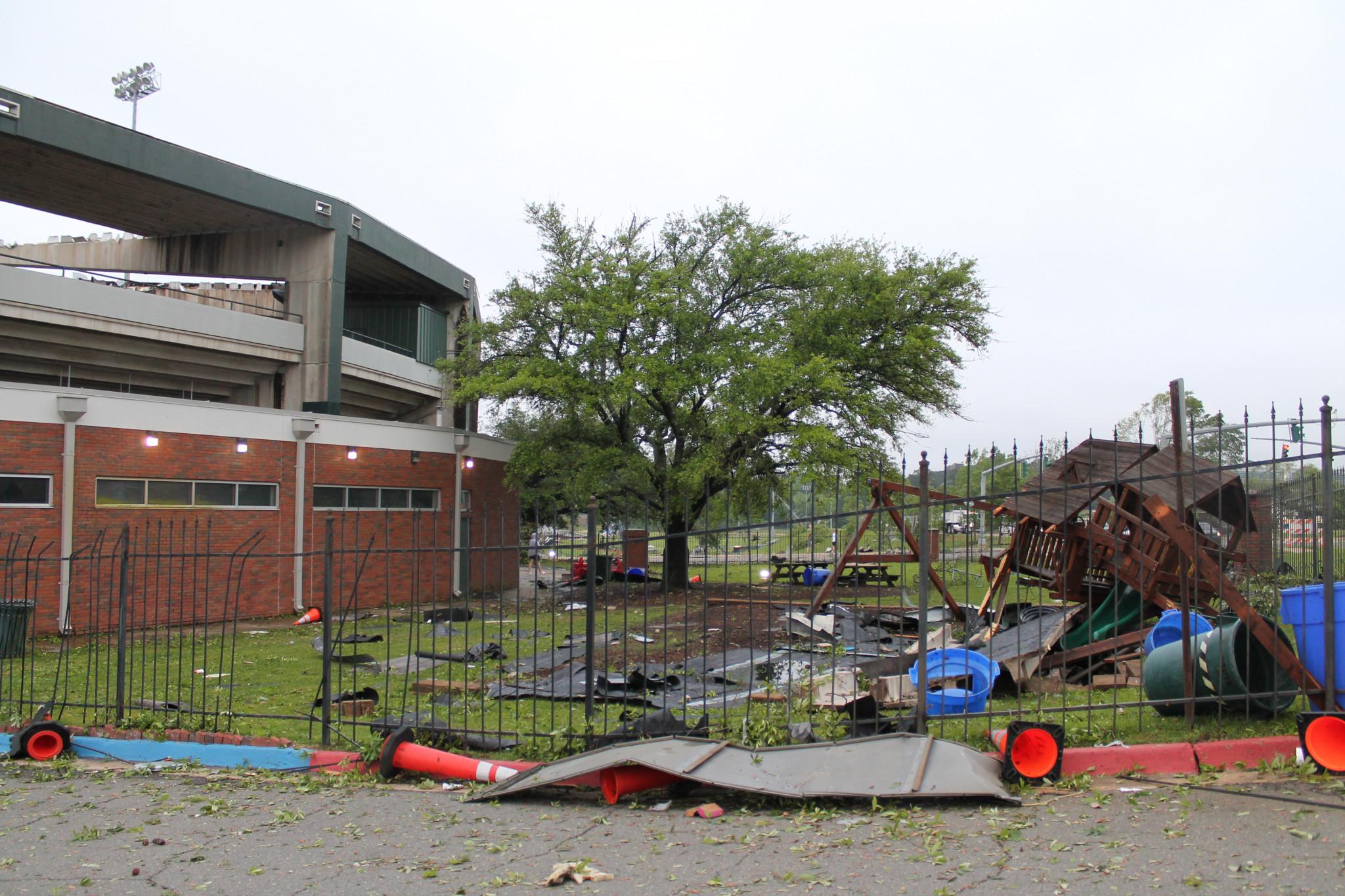 Debris outside the Louisiana Tech baseball field — April 25
