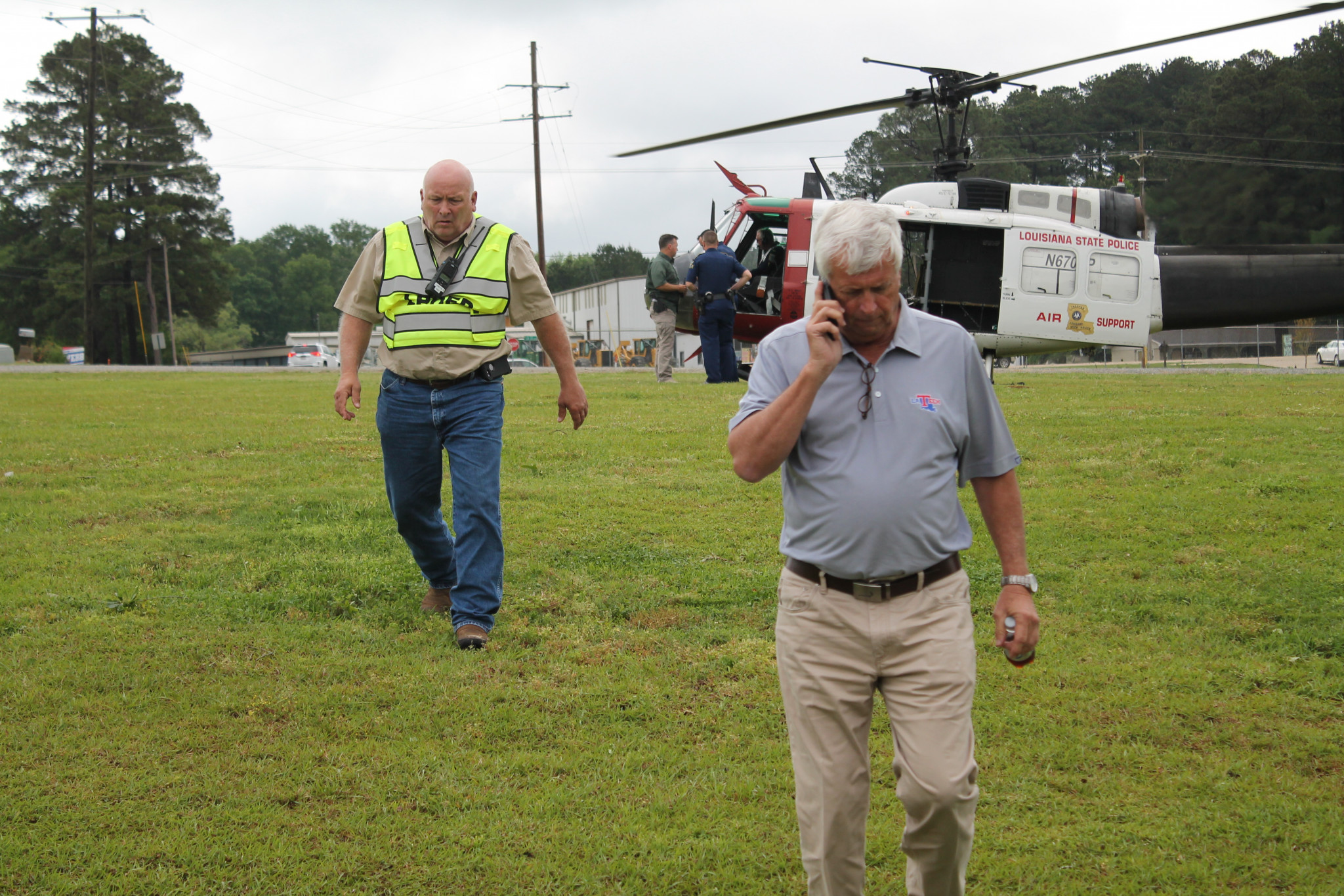 Ruston Mayor Ronny Walker (right) and Director of Lincoln Parish Office of Homeland Security and Emergency Preparedness Kip Franklin — April 25