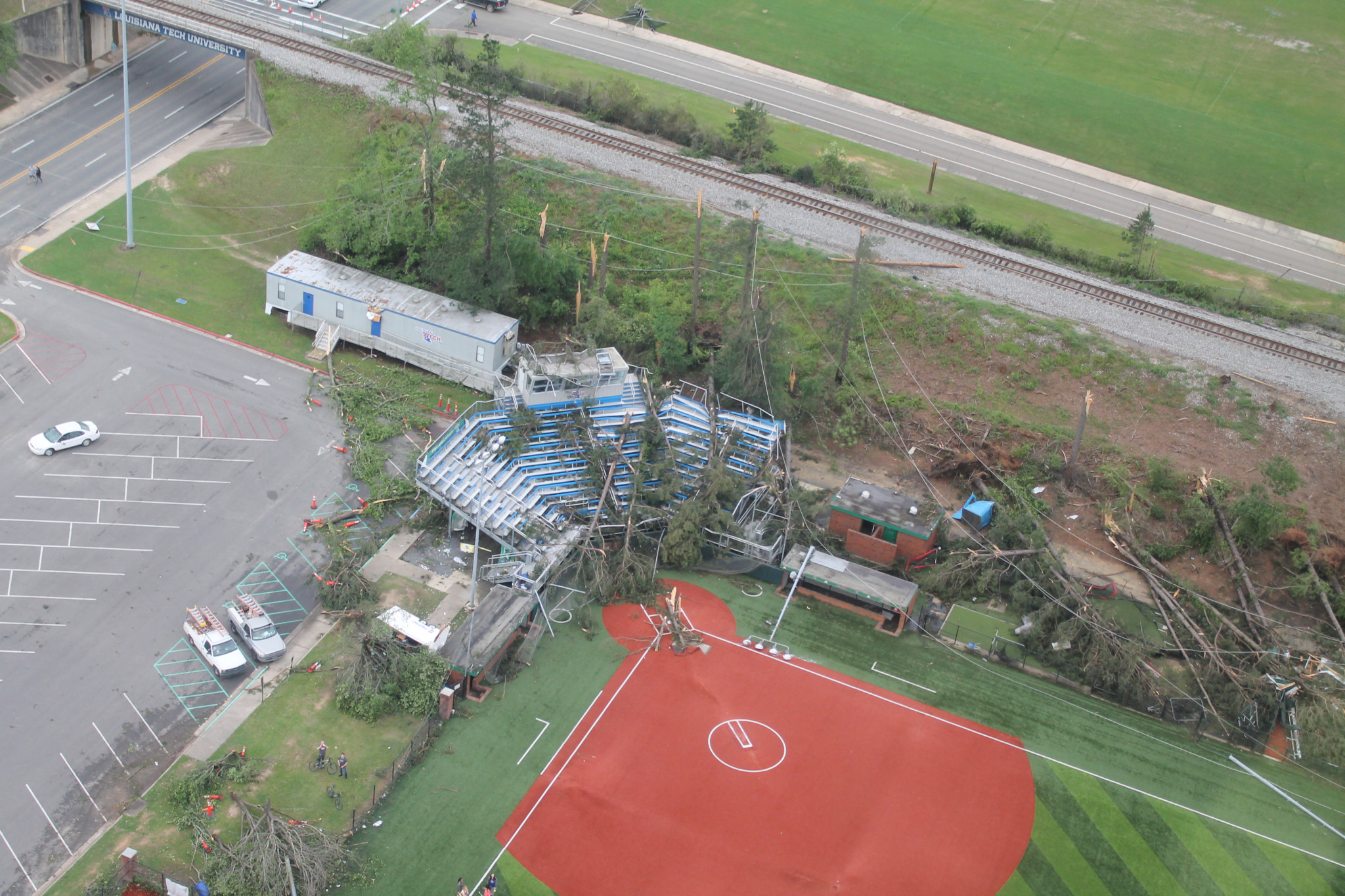 Aerial view of the Louisiana Tech softball field — April 25