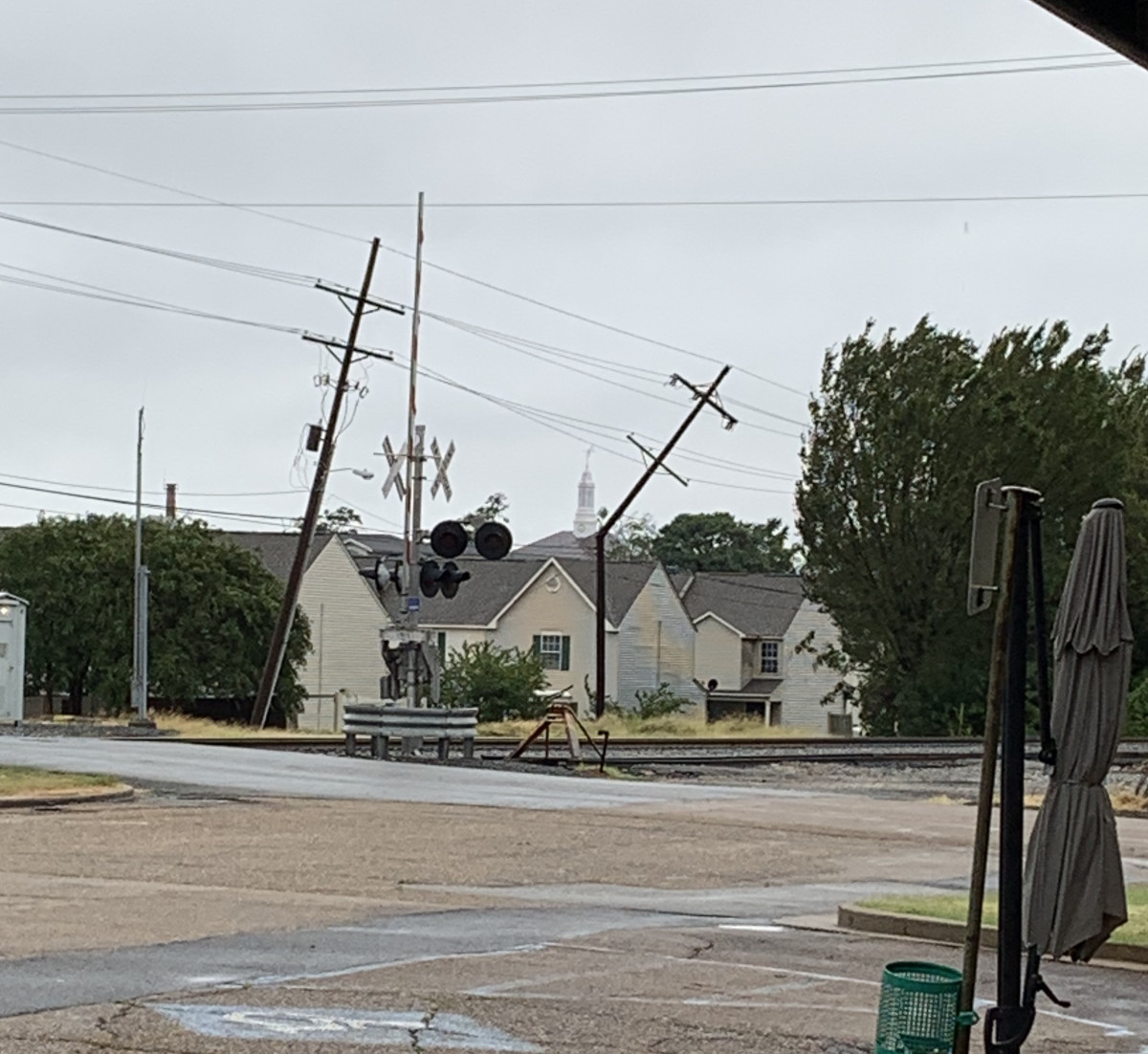 This powerline just off of Monroe Street in Ruston was snapped by Laura's high winds.