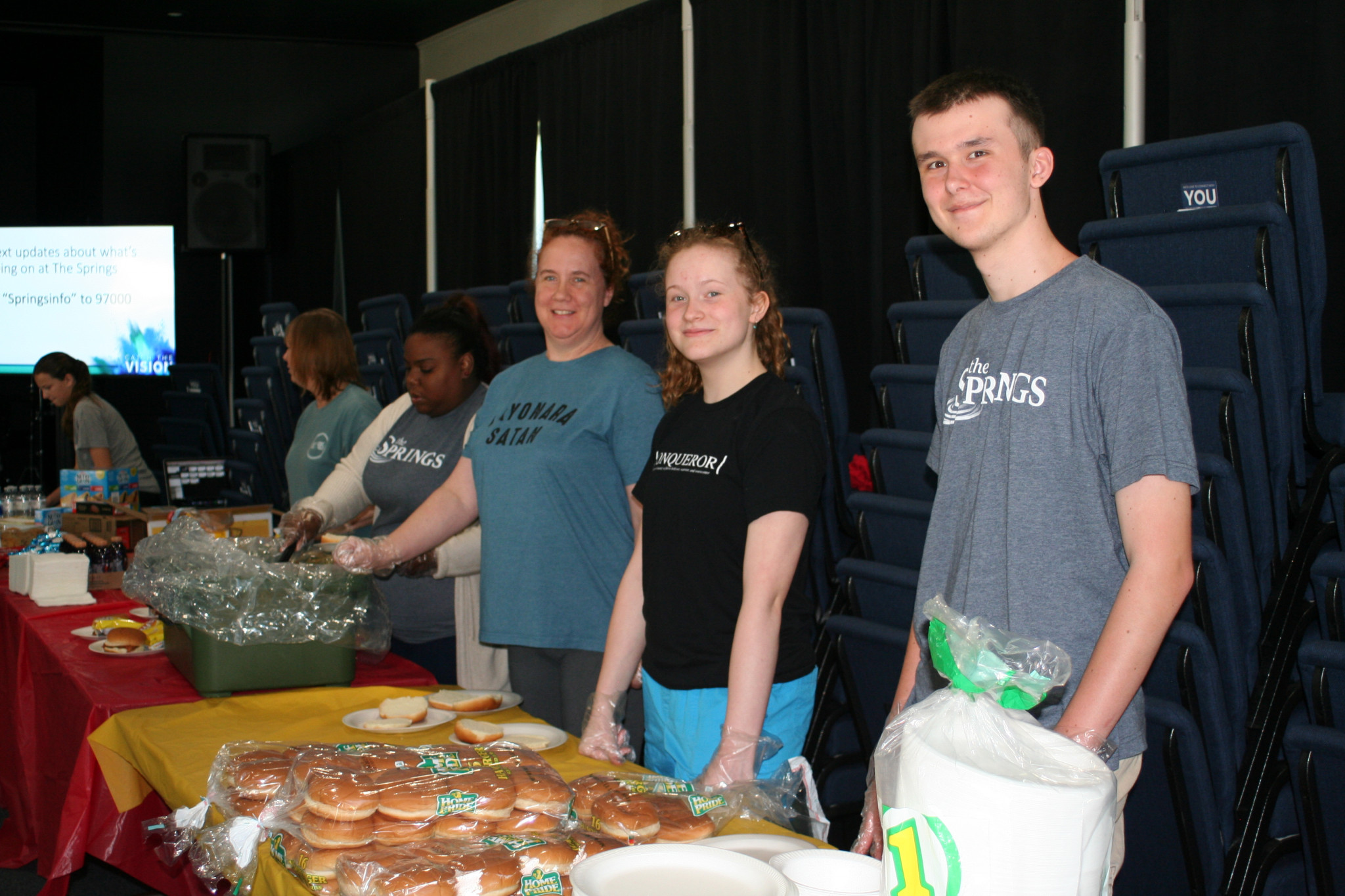 Volunteers serving lunch provided by Rolling Hills at The Springs church — April 26
