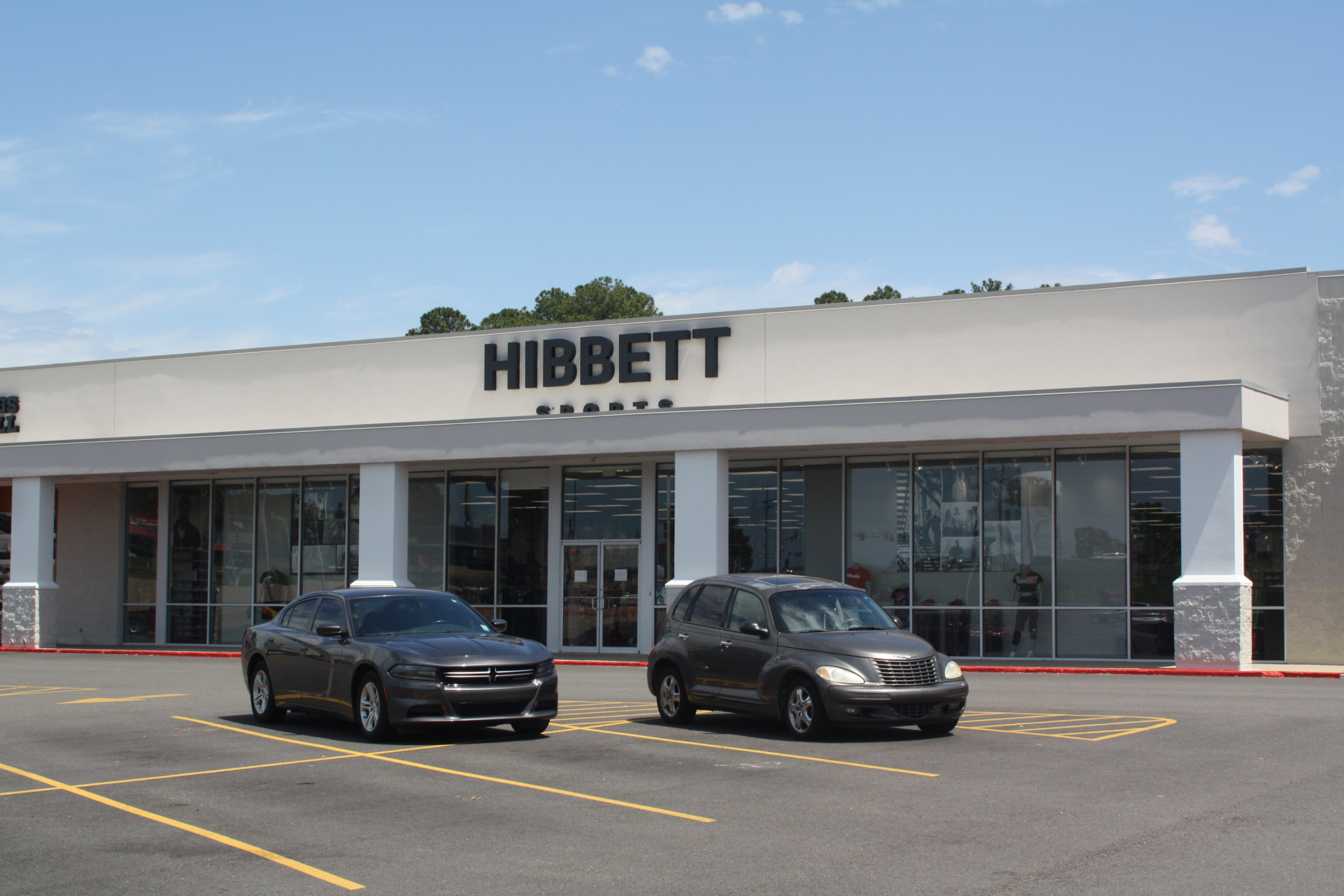 Now Hibbett Sports stands rebuilt with new signage, though the store is currently closed due to the coronavirus pandemic.