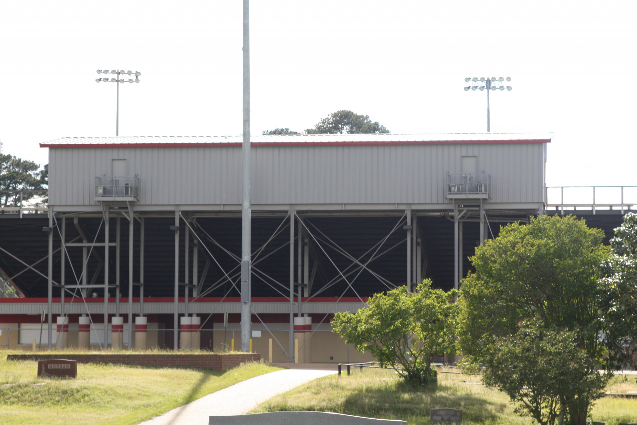 The stadium's new press box and light pole as they stand now.