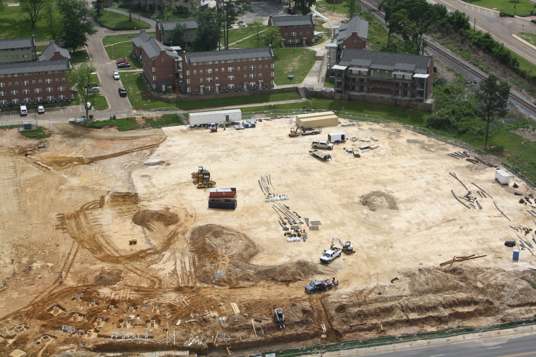 A current aerial view of early construction work going on at the same site to build Tech's new baseball field and facility.
