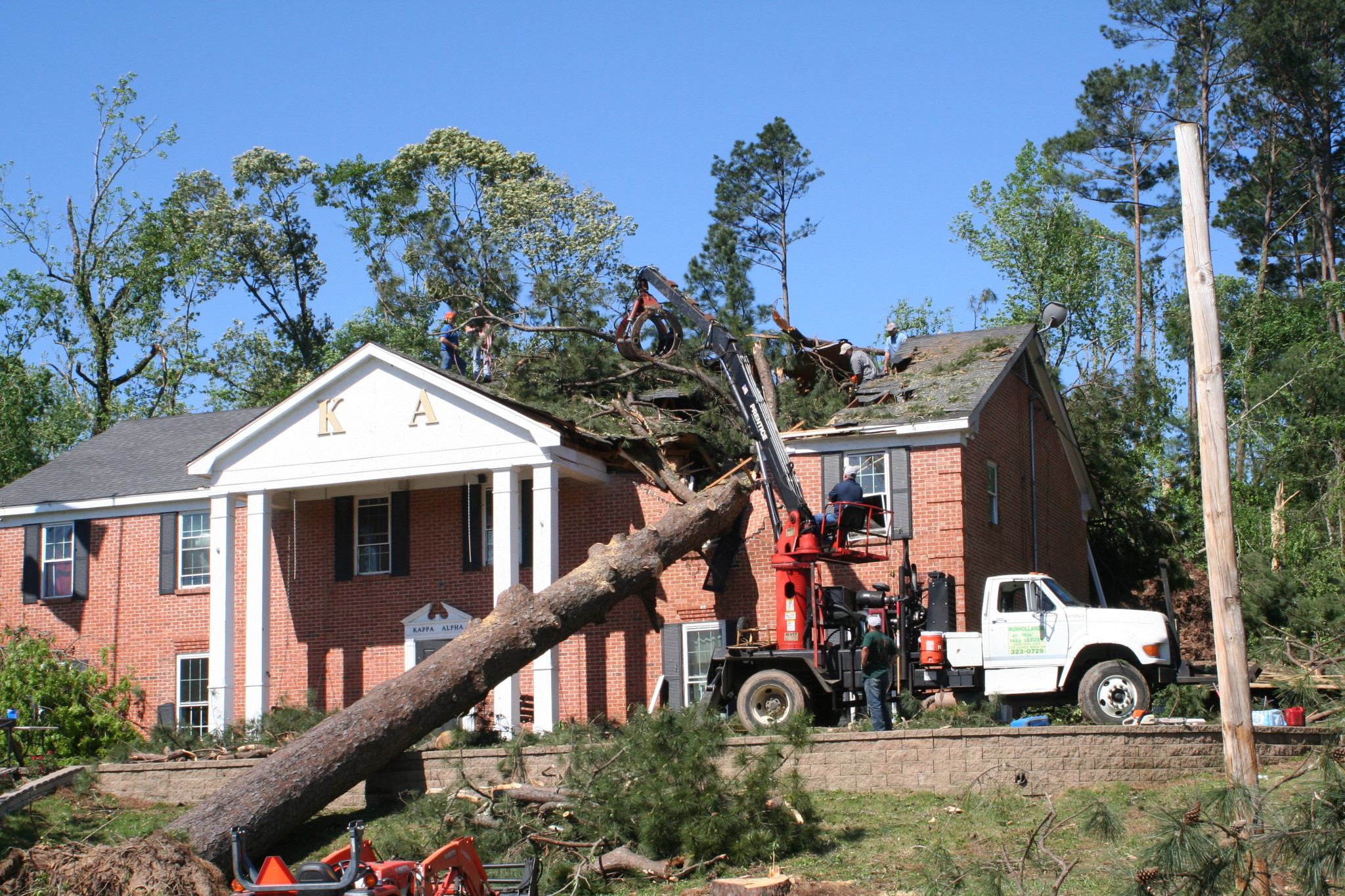 The Louisiana Tech Kappa Alpha fraternity house took a tree through the roof from last year's storm.