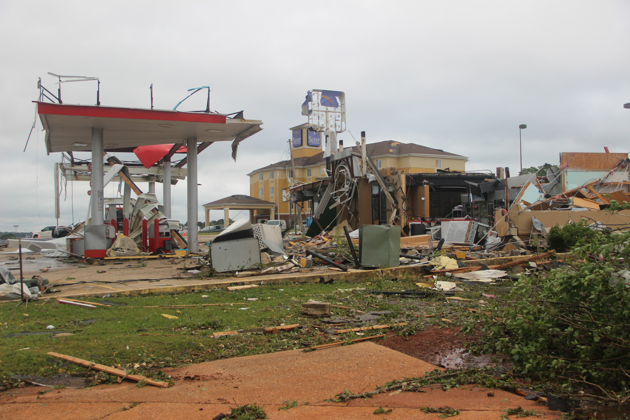 What was left of the Pow-Wow gas station and convenience store on the I-20 service road after the tornado.