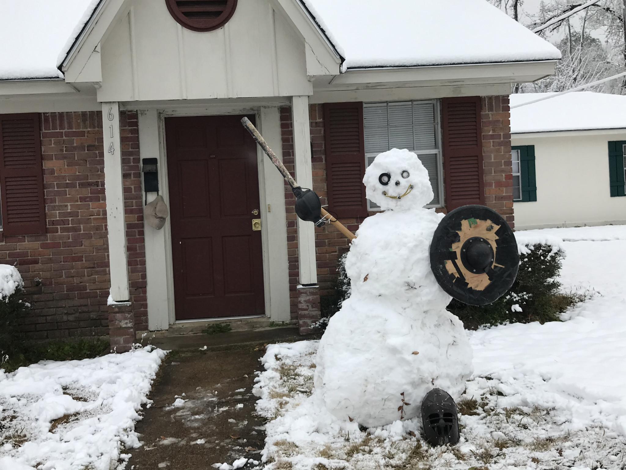 A warrior snowman builty by Hugh Oliver - Leader photo by Caleb Daniel