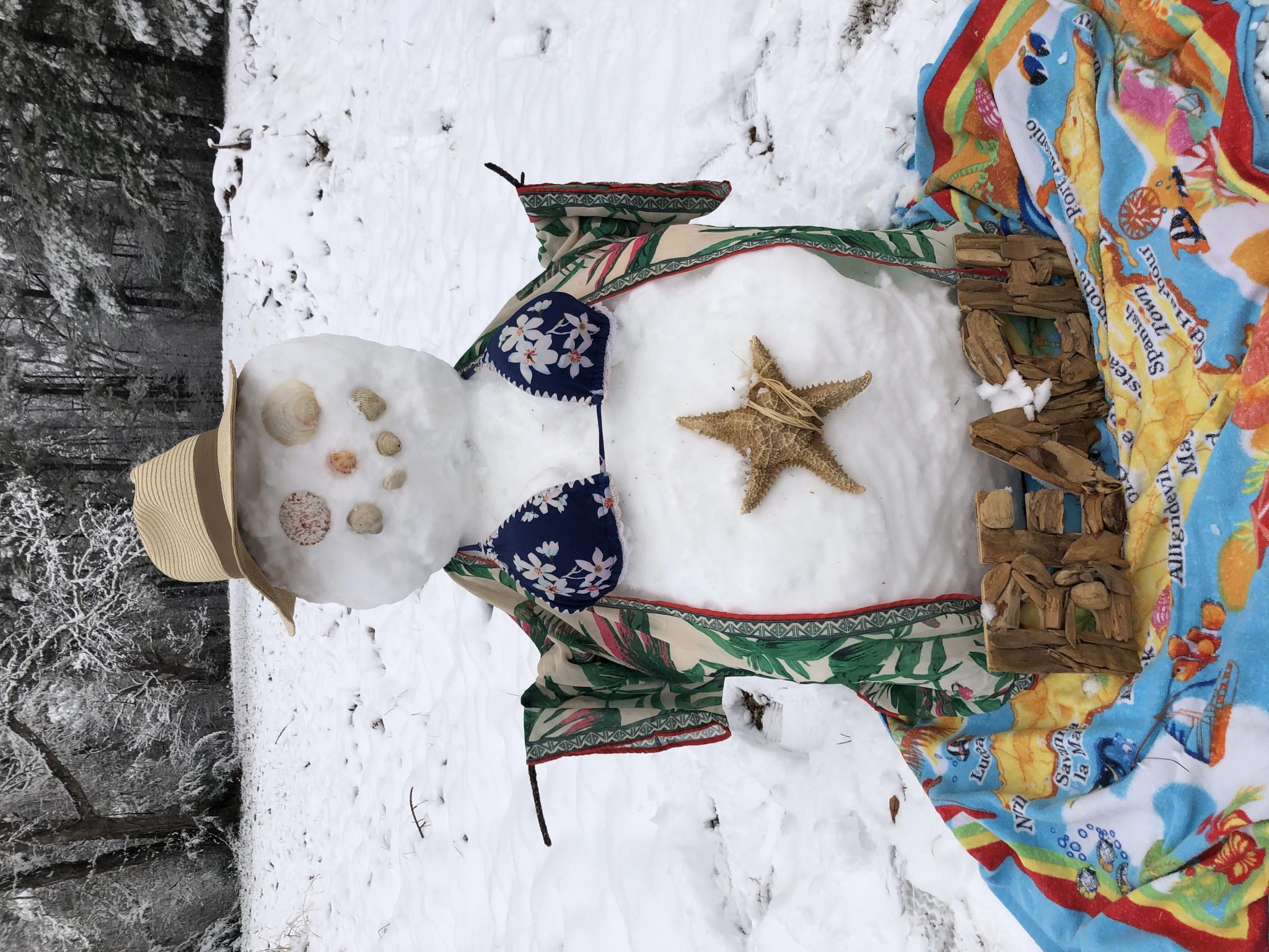 Flo the snowwoman needs a beach, by Scarlett Burch (photo uploaded sideways)