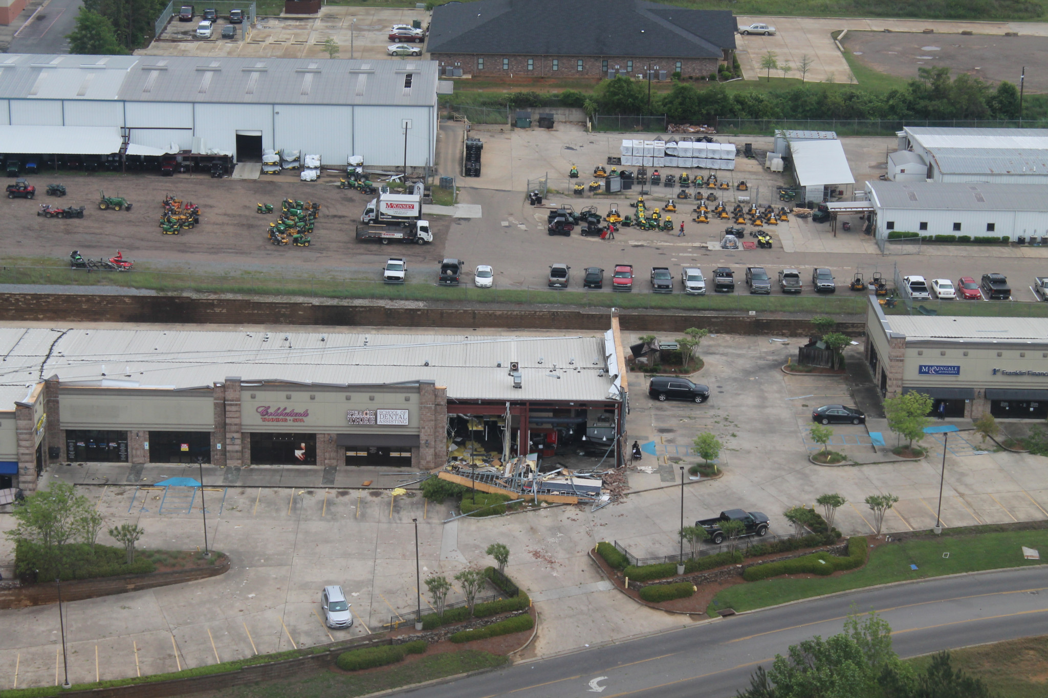 Aerial view of damage to Wing Stop on Celebrity Drive — April 25
