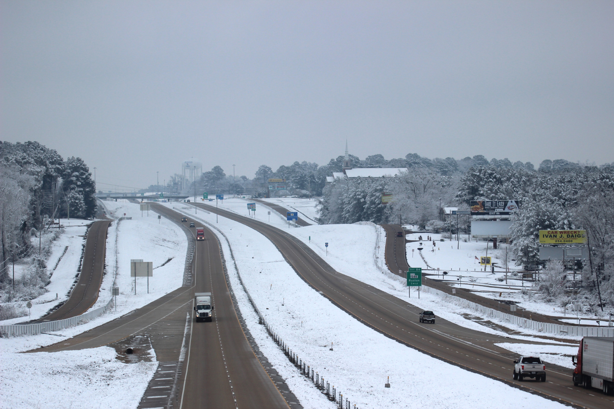 A wintry Interstate 20 - Leader photo by T. Scott Boatright